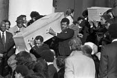 Funerals of Yvonne Ruddock and Paul Ruddock victims of the New Cross house fire, London 1981. The blaze broke out inside the house, either accidentally or deliberately, during a birthday party at the house, South East London. - Peter Arkell - 11-02-1981