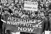 Mass meeting against closure of British Rail workshops, Horwich, Bolton, Lancashire 1982. Apprentices What Future Now? - Peter Arkell - 1980s,1982,activist,activists,against,apprentice,apprentices,apprenticeship,apprenticeships,banner,banners,British Rail,CAMPAIGN,campaigner,campaigners,CAMPAIGNING,CAMPAIGNS,close,closed,closing,closu