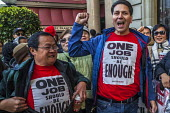 San Francisco, USA Striking Marriott Hotel workers celebrating the successful end of their strike. After 61 days the Unite Here! union got agreement to a new contract. Low wages had required many work... - David Bacon - 2010s,2018,AFL CIO,AFL-CIO,BAME,BAMEs,Black,BME,bmes,California,CAMPAIGN,CAMPAIGNING,CAMPAIGNS,CELEBRATE,celebrating,celebration,celebrations,contract,Diaspora,DISPUTE,disputes,diversity,EARNINGS,EMOT