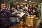 San Francisco, USA Striking Marriott Hotel workers voting to accept the new contract and celebrate the successful end of their strike. After 61 days the Unite Here! union got agreement to a new contra... - David Bacon - 03-12-2018