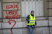 Paris, France Yellow Vest movement protest, Champs Elysees area, graffiti Liberty, Equality, Fraternity? - Jess Hurd - 08-12-2018