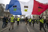 Paris, France protest by Yellow Vest movement, Champs Elysees area, flag with years of revolt 1789, 1968, 2018 - Jess Hurd - 08-12-2018