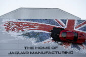 Union Jack advertisment for Jaguar Manufacturing, JLR factory, Castle Bromwich, Birmingham - John Harris - 2010s,2018,advertisement,advertisements,advertising,AUTO,AUTOMOBILE,AUTOMOBILES,automotive,Birmingham,brand,branding,british,car,Car Industry,carindustry,cars,Castle,EBF,Economic,Economy,FACTORIES,fac