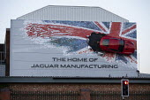 Union Jack advertisment for Jaguar Manufacturing, JLR factory, Castle Bromwich, Birmingham - John Harris - 07-12-2018