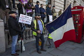 French tricolor flag on UKIP Brexit Betrayal protest with Tommy Robinson, London - Jess Hurd - 09-12-2018