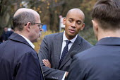 Chuka Umunna MP interviewed by BBC Radio journalist Nick Robinson, College Green, Westminster, London, on the day of four ministerial resignations over Brexit deal. - Philip Wolmuth - 2010s,2018,BBC,Brexit,camera,cameras,College,COLLEGES,communicating,communication,EU,Europe,European Union,filming,interview,INTERVIEWED,INTERVIEWER,interviewing,interviews,journalism,journalist,journ