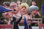 Sculpture by Jacques Tilly. Anti Brexit protest at the Houses of Parliament, London, on the day Conservative MPs launched a challenge to the leadership of Theresa May. Float with a multi-headed chimer... - Philip Wolmuth - 12-12-2018