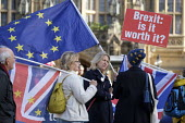 Anti-Brexit protest outside Parliament on the day Brexit deal is debated in Cabinet, Westminster, London. - Philip Wolmuth - 2010s,2018,activist,activists,against,Brexit,campaign,campaigning,CAMPAIGNS,DEMONSTRATING,demonstration,EU,Europe,European Union,FEMALE,flag,flags,Houses of Parliament,Leave,London,outside,Parliament,