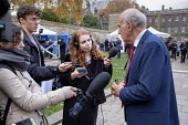 Vince Cable MP being interviewed by TV and radio journalists on College Green, Westminster, London, on the day of four ministerial resignations over Brexit deal. - Philip Wolmuth - 15-11-2018