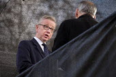 Michael Gove MP interviewed by TV news, College Green, opposite the Houses of Parliament, London, on the day Conservative MPs launched a leadership challenge - Philip Wolmuth - 12-12-2018