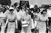 Day of Action by nurses for 12% pay increase, West London 1982. NUPE St Mary's Hospital banner - NLA - 08-06-1982