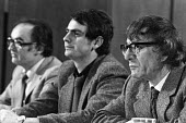 Militant Tendency press conference 1982 (L) Peter Taaffe; Tony Saunois, Ted Grant - NLA - 23-06-1982