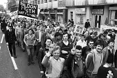 Shildon British Rail engineering workers (BREL) protest against closure London 1982 The factory closed in 1984 with the loss of 2,600 jobs, 85% of the male manufacturing jobs in the town - NLA - 1980s,1982,activist,activists,against,AUEW,banner,banners,BREL,British Rail,British Rail engineering works (BREL),CAMPAIGNING,CAMPAIGNS,close,closed,closing,closure,closures,County Durham,deindustrial