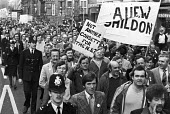 Shildon British Rail engineering workers (BREL) protest against closure London 1982 The factory closed in 1984 with the loss of 2,600 jobs, 85% of the male manufacturing jobs in the town - NLA - 1980s,1982,activist,activists,against,AUEW,banner,banners,BREL,British Rail,British Rail engineering works (BREL),CAMPAIGN,campaigner,campaigners,CAMPAIGNING,CAMPAIGNS,capitalism,close,closed,closing,
