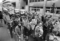 BT POEU engineers protest against privatisation, London 1982. Public Service not Private Profit - NLA - 20-10-1982