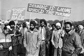 Sikhs protest at the ruling by Law Lords and Lord Denning infavour of a private school that banned the wearing of turbans, London 1982 The ruling was overturned some years later - NLA - 1980s,1982,activist,activists,against,Asian,Asians,BAME,BAMEs,banned,bigotry,Black,BME,bmes,CAMPAIGNING,CAMPAIGNS,DEMONSTRATING,Demonstration,DISCRIMINATION,diversity,ethnic,ethnicity,INDEPENDENT,INEQ