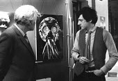 EP Thompson (L) opening an exhibition by Peter Kennard (R), 1983. Dispatches from an Unofficial War Artist, County Hall, London GLC Peace Year. Defended to Death - NLA - peace movement,1980s,1983,ACE,american,americans,art,Art Gallery,artist,artists,arts,artwork,artworks,Campaign for nuclear disarmament,CCCP,CND,Cold War,culture,Death,DEATHS,defence,DEFENSE,died,EP Th