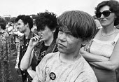 Youth listening to speeches, CND rally Hyde Park, London 1982 - Ray Rising - 1980s,1982,activist,activists,adolescence,adolescent,adolescents,against,attention,attentive,Campaign for Nuclear Disarmament,CAMPAIGNING,CAMPAIGNS,CND,cruise missiles,DEMONSTRATING,Demonstration,list