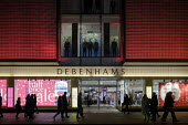 Debenhams end of year sales, Oxford Street, London - Philip Wolmuth - 2010s,2018,apparel,bought,business,buy,buyer,buyers,buying,cities,city,clothes,clothing,commodities,commodity,consumer,consumers,crowd,crowds,customer,customers,EBF,Economic,Economy,evening,figure,fig