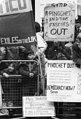 Picket for Democracy, Chilean Embassy 1984, Chilean exiles and their children against continued Fascist rule by General Pinochet after the coup of 1973 eleven years previously - Stefano Cagnoni - 1980s,1984,activist,activists,against,banner,banners,CAMPAIGN,campaigner,campaigners,CAMPAIGNING,CAMPAIGNS,child,CHILDHOOD,children,Chile,Chile solidarity campaign,Democracy,DEMONSTRATING,demonstratio