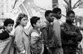 School pupils protest against education cuts, County Hall London 1987 Labour Party Young Socialists - Stefano Cagnoni - 1980s,1987,activist,activists,adolescence,adolescent,adolescents,against,austerity,BAME,BAMEs,black,Black and White,BME,bmes,boy,boys,CAMPAIGNING,CAMPAIGNS,child,CHILDHOOD,children,cuts,DEMONSTRATING,