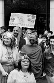 Gay Pride celebration London 1987. Gay Vegetarians - Stefano Cagnoni - 1980s,1987,activist,activists,against,bound,CAMPAIGNING,CAMPAIGNS,CELEBRATE,CELEBRATING,celebration,celebrations,DEMONSTRATING,demonstration,disabilities,disability,disable,disabled,disablement,EMOTIO