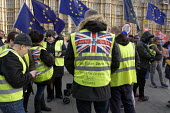 Pro Brexit protesters wearing yellow jackets protest outside the Houses of Parliament as MPs start five days of debate on the withdrawal agreement with the EU, Westminster, London. - Philip Wolmuth - 2010s,2019,activist,activists,against,Brexit,Brexiters,CAMPAIGNING,CAMPAIGNS,DEMONSTRATING,demonstration,EU,European Union,far right,far right,flag,flags,gilets jaunes,high visibility,Houses,Leave,Lon