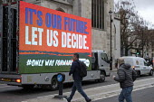 People's Vote mobile advertisment outside the Houses of Parliament as Parliament prepares to vote on Brexit, Westminster, London - Philip Wolmuth - 2010s,2019,activist,activists,advertisement,advertisements,advertising,against,billboard,BILLBOARDS,Brexit,CAMPAIGNING,CAMPAIGNS,DEMONSTRATING,demonstration,EU,European Union,HAULAGE,HAULIER,HAULIERS,