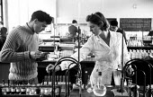 Lensfield Road chemistry laboratory 1959 Woman science student Tessa Rudebeck from Newnham College Cambridge working alongside male students - Kurt Hutton - 1950s,1959,analysis,bunsen burner,Cambridge,chemist,chemistry,College,COLLEGES,course,courses,degree,degrees,EDU,educate,educating,education,educational,equipment,experiment,female,Higher Education,hi