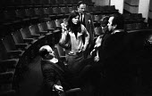 William Gaskill directing SAVED by Edward Bond, Royal Court Theatre London 1965. (L to R) Assistant Director Jane Howell, actor and Associate Director of English Stage Company Iain Cuthbertson, Associ... - Patrick Eagar - 29-10-1965