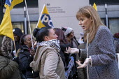 Angela Rayner MP with Katie Leslie PCS, supporting PCS strike, BEIS, London by outsourced cleaners, receptionists and security for a London Living Wage, sick pay and annual leave - Jess Hurd - 22-01-2019