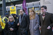 Sam Gurney, LESE, Angela Rayner MP, Rebecca Long-Bailey and Dan Carden MP supporting PCS strike, BEIS, London by outsourced cleaners, receptionists and security for a London Living Wage, sick pay and... - Jess Hurd - 22-01-2019