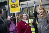Fran Heathcote PCS, Angela Rayner MP, PCS strike, BEIS, London by outsourced cleaners, receptionists and security for a London Living Wage, sick pay and annual leave - Jess Hurd - 22-01-2019