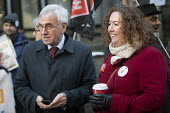 John McDonnel, Fran Heathcote PCS strike, BEIS, London by outsourced cleaners, receptionists and security for a London Living Wage, sick pay and annual leaveve. - Jess Hurd - 22-01-2019