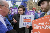 Leave Means Leave. Believe in Britain. Brexit supporters protest, Houses of Parliament as MPs vote on amendments withdrawal deal with the EU, Westminster, London - Philip Wolmuth - 29-01-2019