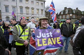Just Leave. Brexit supporters protest, Houses of Parliament as MPs vote on amendments withdrawal deal with the EU, Westminster, London - Philip Wolmuth - 29-01-2019