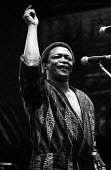 Hugh Masekela, Artists Against Apartheid free music festival Clapham Common London 1986. After a March and Rally in London against apartheid in South Africa artists stage a free concert in support of... - Stefano Cagnoni - 1980s,1986,AAA,AAM,ACE,activist,activists,Africa,Against,Anti Apartheid Movement,Apartheid,Artists Against Apartheid,Arts,BAME,BAMEs,Black,Black and White,BME,bmes,CAMPAIGNING,CAMPAIGNS,concert,CONCER