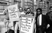 GCHQ solidarity strike Whitehall London 1986. Spontaneous walkout by civil servants at Cabinet Office in support of trade union rights being restored at GCHQ on the occasion of a visit by civil servic... - Stefano Cagnoni - 1980s,1986,activist,activists,against,BAME,BAMEs,ban,banned,banning,bans,Black,Black and White,BME,bmes,Cabinet Office,CAMPAIGNING,CAMPAIGNS,civil servant,civil servants,CPSA,DEMONSTRATING,demonstrati