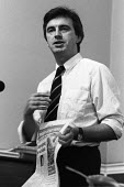 John McDonnell speaking, London Labour Left meeting 1986 whilst holding a copy of Campaign Group News - Stefano Cagnoni - 22-07-1986