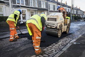 Road Maintenance workers repairing the road, Bristol - Paul Box - 2010s,2019,application,applied,applying,ASPHALT,by hand,cities,City,contractor,contractors,driver,drivers,driving,EBF,Economic,Economy,employee,employees,Employment,highway,job,jobs,lay,laying,LBR,mac