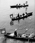 Royal Swan Upping 1959. Dating back to the 12th Century an annual census of the swan population by the Queen's swan uppers on a particular stretch of the River Thames to check the health of and count... - Alan Vines - 1950s,1959,ACE,animal,animals,bird,birds,boat,boats,catch,catching,census,ceremonial,ceremonies,ceremony,count,counting,Culture,cygnet,cygnets,ENI,environment,Environmental Issues,health,male,man,men,