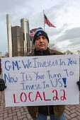 Detroit, Michigan USA GM workers protest at GM headquarters to protest closure of five factories - Jim West - 2010s,2019,activist,activists,against,America,auto,auto workers,Automotive Industry,CAMPAIGNING,CAMPAIGNS,close,closed,closing,closure,closures,DEMONSTRATING,demonstration,Detroit,FACTORIES,factory,Ge