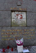 Marx Memorial vandalised, Highgate Cemetery, London. Memorial to Karl Marx after its initial cleaning to remove the worst of the graffiti that besmirched his grave - Stefano Cagnoni - 17-02-2019