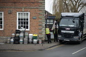 Delivering barrels of beer, Stratford upon Avon - John Harris - 2010s,2019,beer,cask ale,cities,City,deliveries,delivering,delivery,driver,drivers,DRIVING,EBF,Economic,Economy,employee,employees,Employment,HAULAGE,HAULIER,HAULIERS,heap,HGV,job,jobs,keg,kegs,LBR,LI