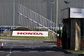 Honda Swindon car plant which will close in 2021 with the loss of 3,500 jobs. Gate closing - John Harris - 2010s,2019,auto,automotive,Automotive Industry,Car Industry,carindustry,close,closed,closing,closure,closures,EBF,Economic,Economy,employee,employees,Employment,entrance,FACTORIES,factory,gate,gates,H