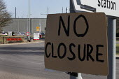 No Closure sign outside Honda Swindon car plant which will close in 2021 with the loss of 3,500 jobs - John Harris - 2010s,2019,activist,activists,against,auto,automotive,Automotive Industry,CAMPAIGNING,CAMPAIGNS,Car Industry,carindustry,close,closed,closing,closure,closures,DEMONSTRATING,Demonstration,EBF,Economic,