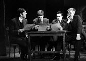 Peter Cook, Jonathan MIller, Dudley Moore, Alan Bennett 1961 in the 'Bread Alone' sketch, Beyond The Fringe show, The Fortune Theatre, London - Romano Cagnoni - 1960s,1961,ACE,acting,actor,actors,Alan Bennett,Arts,Beyond The Fringe,comedian,comedians,comedy,Cook,COOKS,Culture,Dudley,Dudley Moore,ENTERTAINER,ENTERTAINERS,entertainment,FUNNY,humor,humorous,HUMO