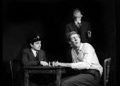 Dudley Moore, Alan Bennett, Jonathan Miller 1961 in 'the death cell' from 'The Suspense Is Killing Me' sketch, Beyond The Fringe, Fortune Theatre London 1961 - Romano Cagnoni - 1960s,1961,ACE,acting,actor,actors,Alan Bennett,Arts,Beyond The Fringe,comedian,comedians,comedy,Culture,death,DEATHS,died,Dudley,Dudley Moore,ENTERTAINER,ENTERTAINERS,entertainment,FUNNY,humor,humoro