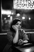 Woman smoking in coffee lounge 1961 late at night near Piccadilly Circus, West End, London - Romano Cagnoni - 11-09-1961