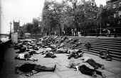 CND die in, The Embankment London 1963 to illustrate the effects of nucelar war on the civilian population - Romano Cagnoni - peace movement,1960s,1961,activist,activists,against,Anti War,Antiwar,bodies,body,campaign,Campaign for nuclear disarmament,campaigner,campaigners,campaigning,CAMPAIGNS,cities,City,civil disobedience,